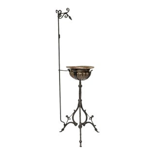Plant stand, 19c Bronze Bowl And iron stand For Sale