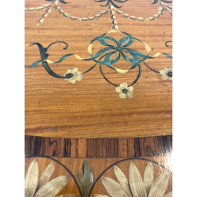1970s Traditional Hand Painted Demilune Console Table For Sale - Image 11 of 13