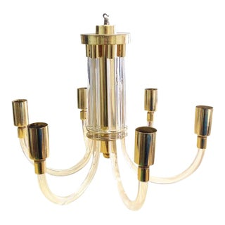 Gold Lucite Chandelier For Sale