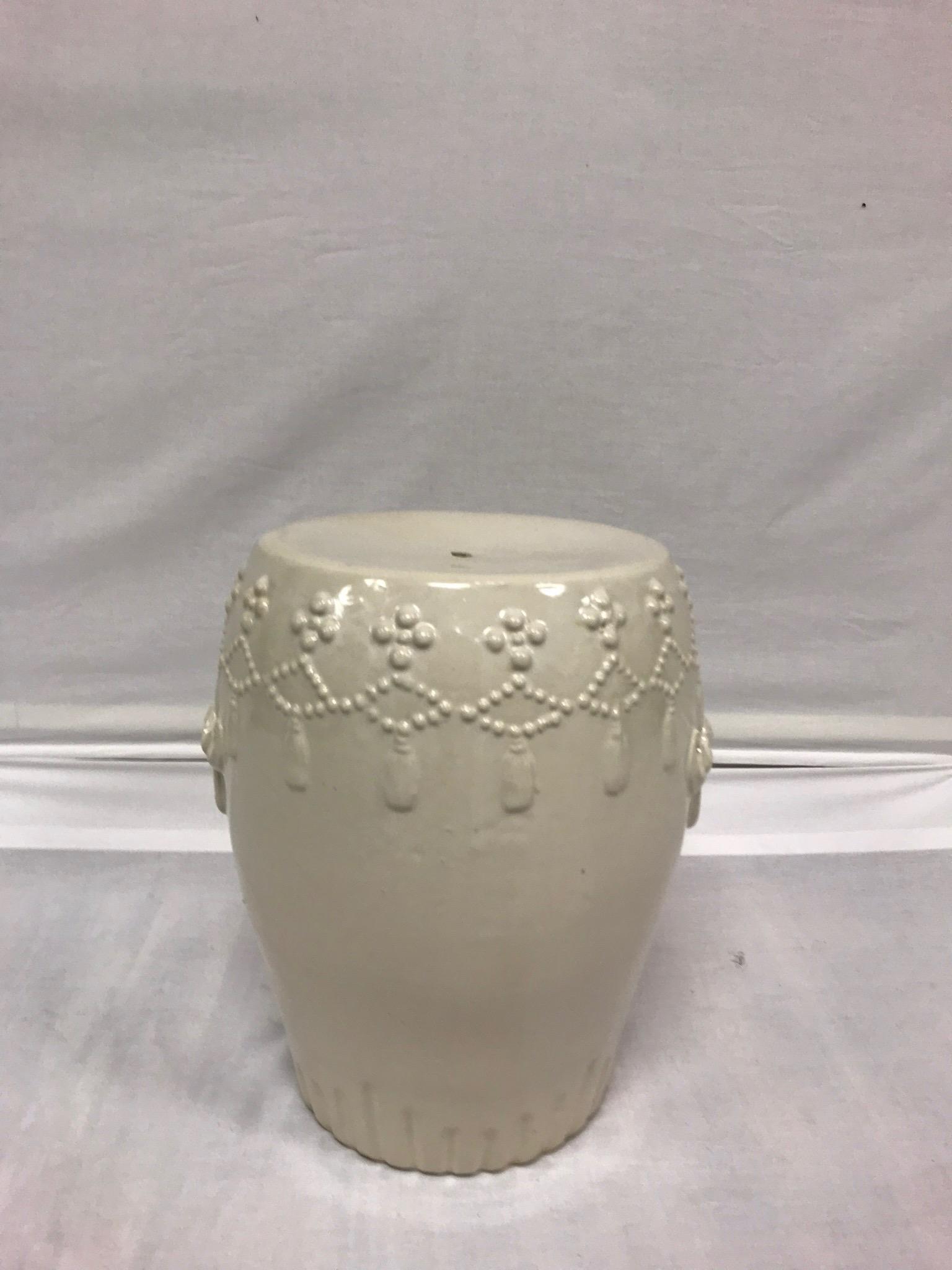 White Ceramic Asian Garden Stool   Image 4 Of 10