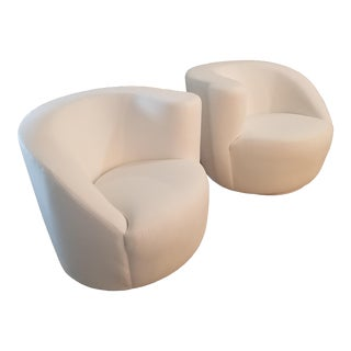 Restored/ Recovered White Linen Vladamir Kagan Nautilus Swivel Chairs - a Pair For Sale
