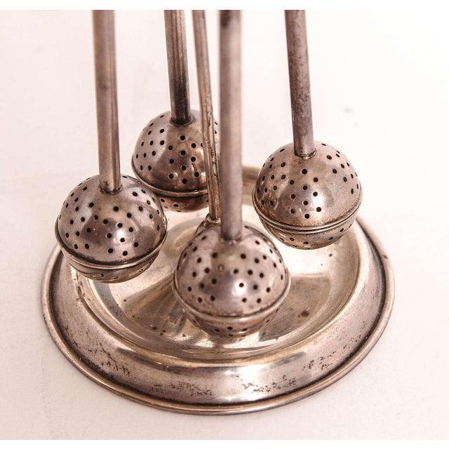 Vintage Modernist Art Deco Sterling Silver Tea Infuser Set on Original Stand For Sale - Image 4 of 11