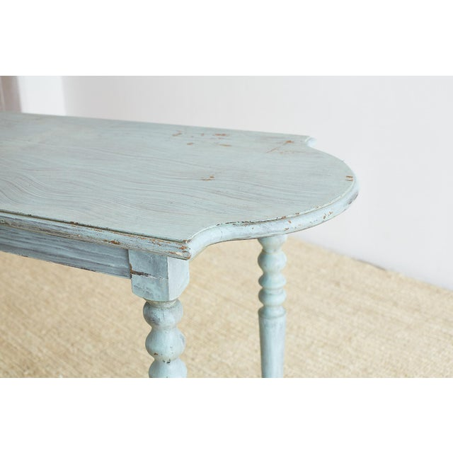 Country Robin's Egg Blue Painted Console Sofa Table For Sale - Image 3 of 13