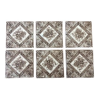 Antique English Brown & White Tiles - Set of 6 For Sale