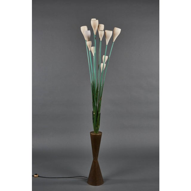 """An important and large """"Calla"""" floor lamp in the manner of Angelo Lelii for Arredoluce, its hour glass brass base issuing..."""