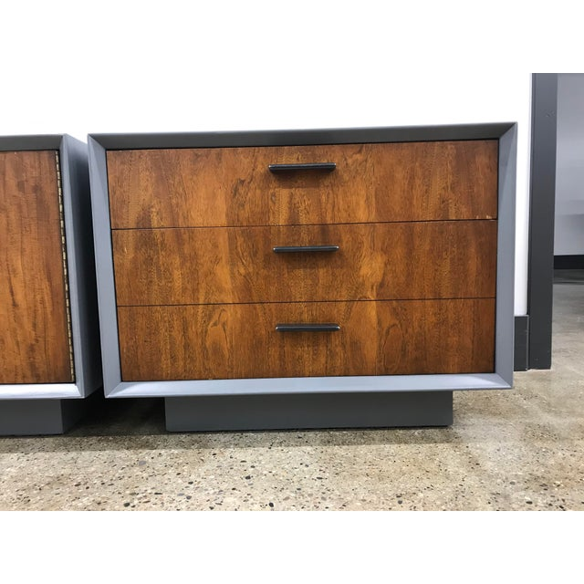 Art Deco Midcentury Walnut and Grey Painted Nightstands by Lane - a Pair For Sale - Image 3 of 8