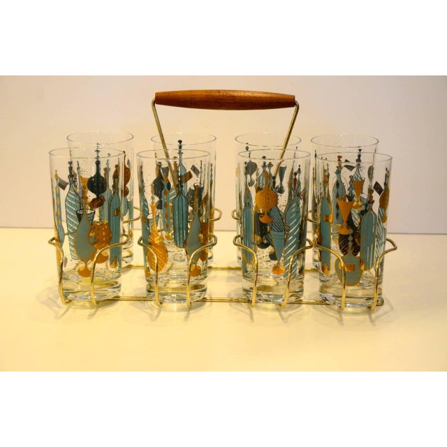Mid Century Modern Eight Mid-Century Tom Collins Glasses with Exotic Barware Decoration & Caddy - Image 8 of 11