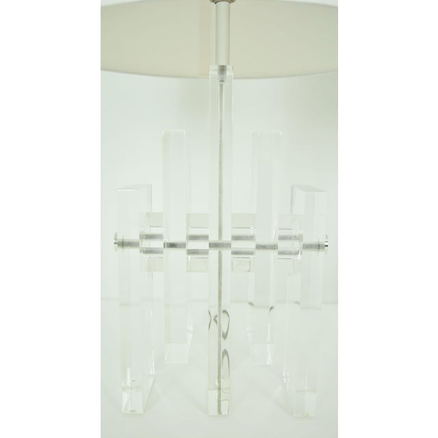 Early 20th Century Early 20th Century Chrome Rod Lucite Skyscraper Lamps - A Pair For Sale - Image 5 of 6