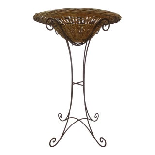 Vintage Wrought Iron and Wicker Planter For Sale