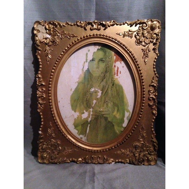 Vintage Victorian Framed Flower Girl Portrait - Image 2 of 6