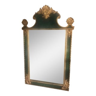 Maitland Smith Faux Malachite and Gilded Wall Mirror For Sale
