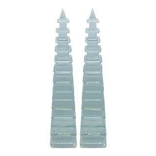 Modern Crystal Pagoda Obelisk Sculptures - a Pair For Sale