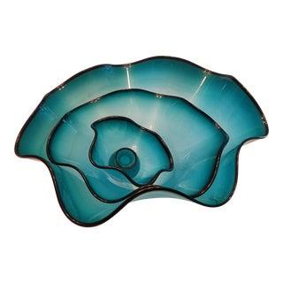 Blue Nesting Glass Bowls - Set of 3