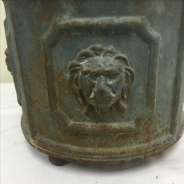 Cast Iron Lions Head Planter For Sale - Image 5 of 6