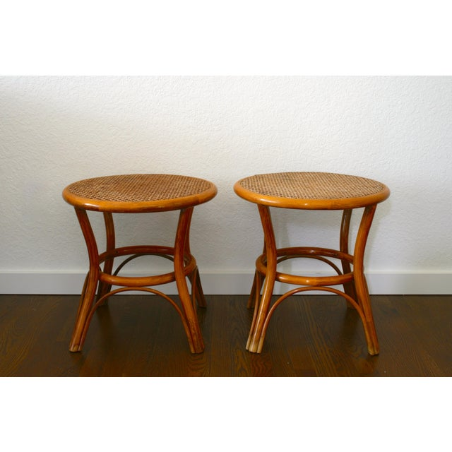 Vintage Rattan and Cane Tables - a Pair For Sale - Image 10 of 10