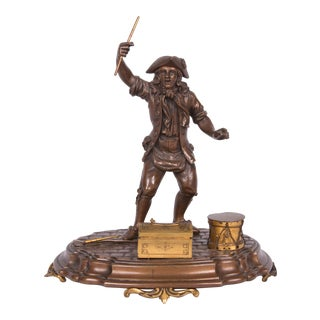 19th Century French Figural Bronze and Gilt Inkstand For Sale