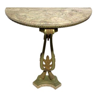 French Bronze Marble-Top Demilune Console Table For Sale