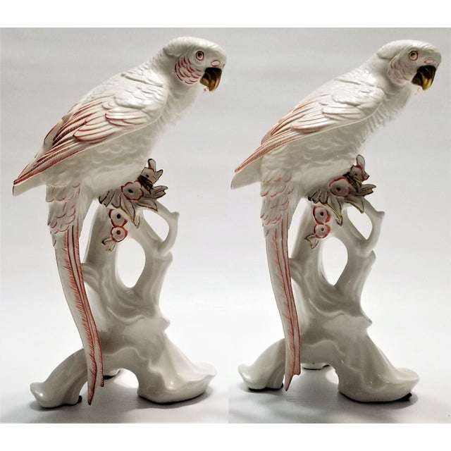 Rare Large White Porcelain Parrots by Karl Ens - Each Signed - Volkstedt Germany - Art Deco Palm Beach Boho Chic Tropical Coastal For Sale - Image 12 of 12
