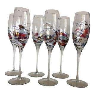 Romanian Cristiro Art Crystal Champagne Flutes - Set of 6