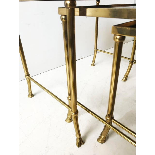 Mid-Century Modern Vintage Set of Bronze Nesting Tables by Maison Jansen For Sale - Image 3 of 5