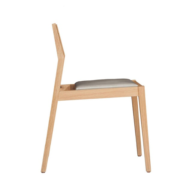 Stillmade Solid White Oak Dining Chair with Leather Seat For Sale - Image 4 of 5