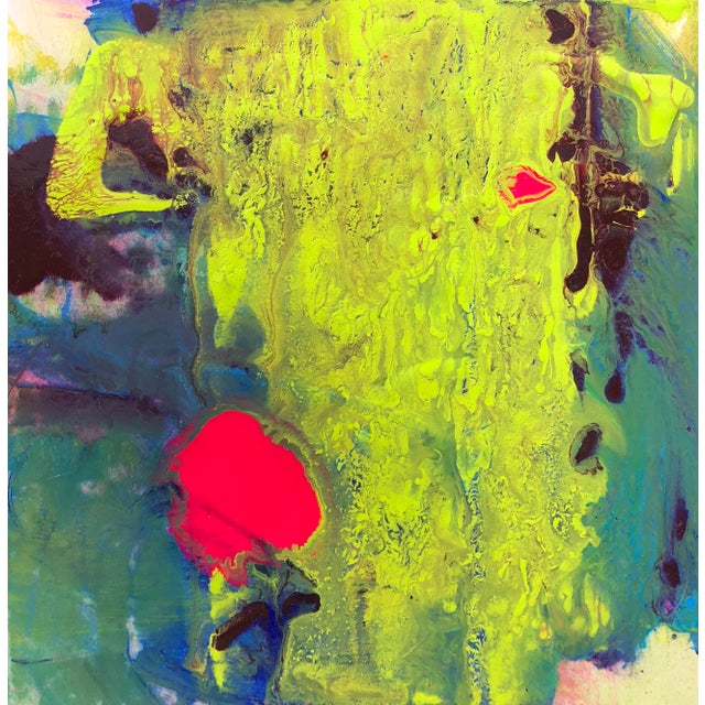 Acrylic Painting Titled: Citron Borealis by Mirtha Moreno For Sale In West Palm - Image 6 of 6