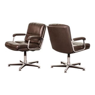 Pair of Mid-Century Design Deep Brown Leather Side / Desk Chair by Drabert, Germany, 1970s For Sale