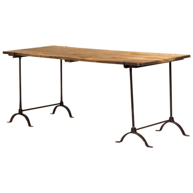 1850s England Trestle Table With Iron Legs and Oakwood Top For Sale