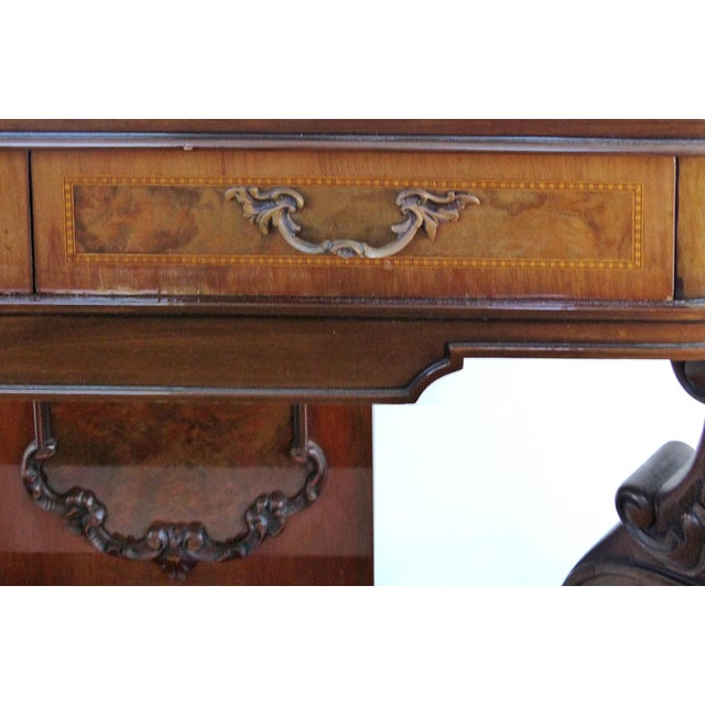 Carved Two-Drawer Console Table With Mahogany, Satinwood and Ebonized Wood For Sale In Miami - Image 6 of 13
