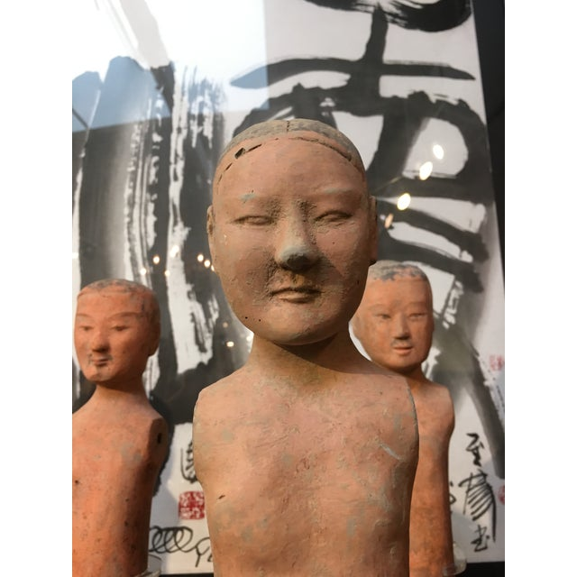 "Set of Seven Han Dynasty Painted Pottery ""Stick Men"" For Sale In Austin - Image 6 of 8"