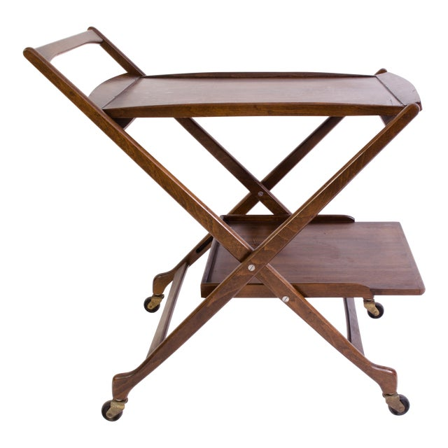 Danish Folding Walnut Bar Cart With Serving Tray - Image 1 of 11