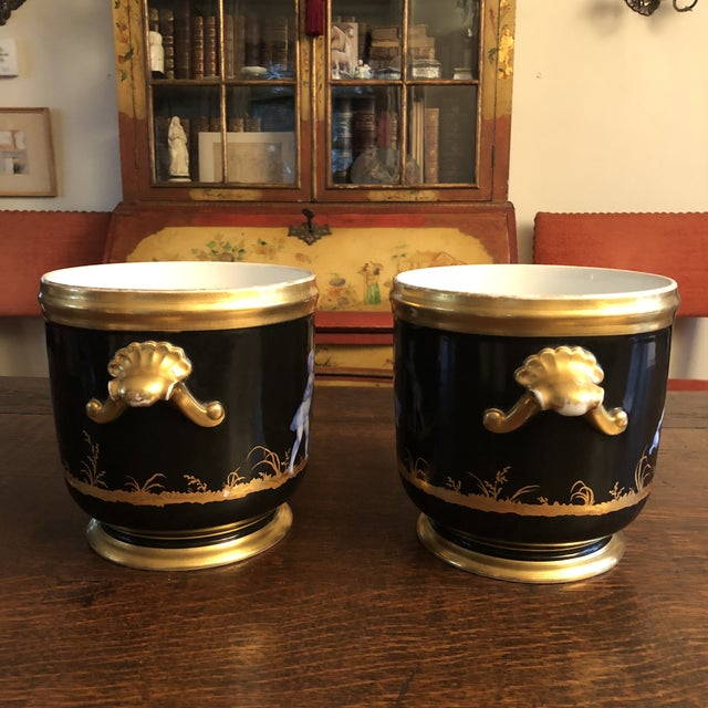 Antique French Gilt Soft Paste Two Handled Seaux a Bouteille or Wine Buckets - a Pair For Sale - Image 4 of 13