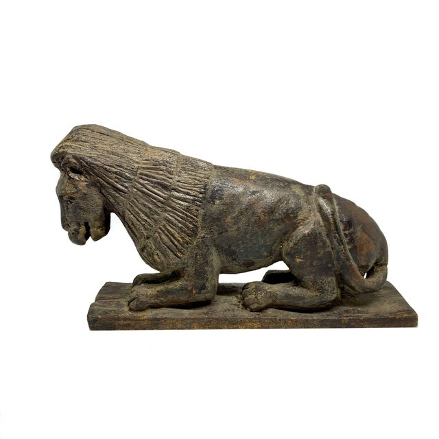 Mid 19th Century Folk Art Style Carved Wooden Lion For Sale In Charleston - Image 6 of 6