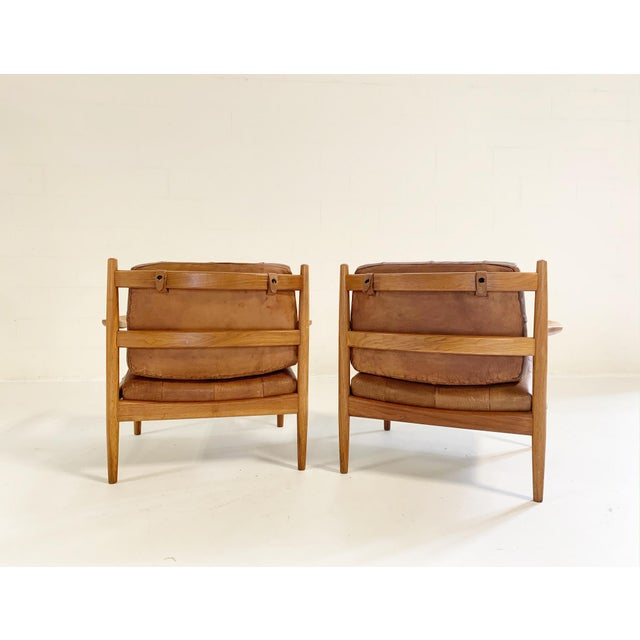 """This pair is an outstanding example of Ingemar Thillmark """"Lacko"""" armchairs. We did not change a thing - the patina on the..."""