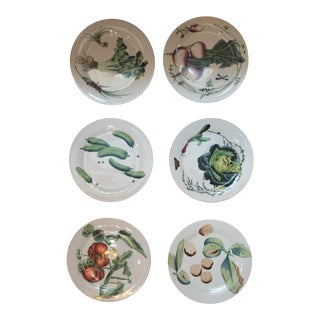 Chelsea House Gold Rim Vegetable Plates - Set of 6 For Sale