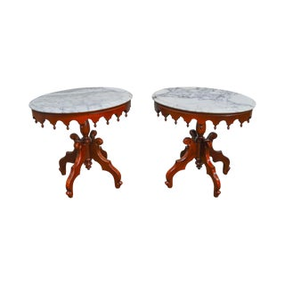 Victorian Style Solid Mahogany Oval Marble Top Side Tables - A Pair For Sale