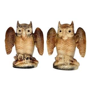 Kron Ceramic Owl Lamps - a Pair For Sale