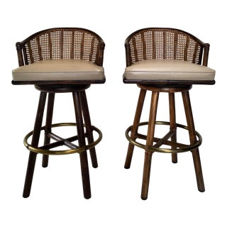 Mid-Century McGuire Bamboo Barstools- a Pair For Sale