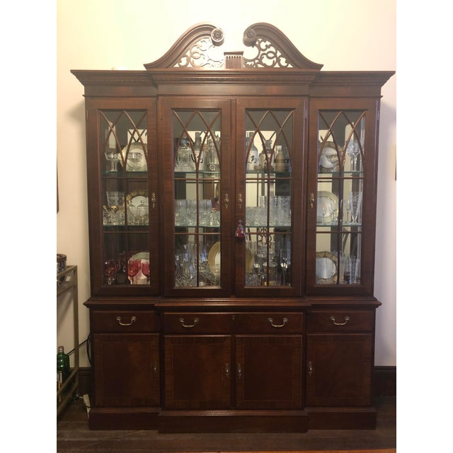 Ethan Allen Mahogany 18th Century Classics Collection Dining Room Breakfront China Cabinet For Sale - Image 9 of 9