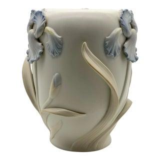 Vintage Fitz & Floyd Floral Three Dimensional Iris Vase For Sale
