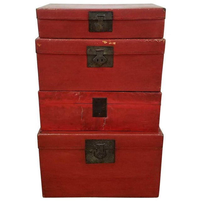Red Chinese Lacquered Trunks For Sale - Image 8 of 8