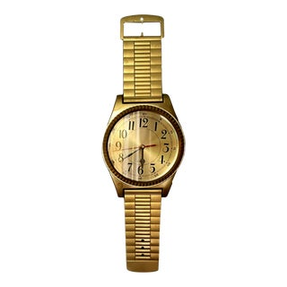 Vintage Oversized Gold Quartz Watch Wall Clock For Sale