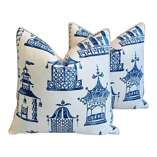 "Blue & White Chinoiserie Pagoda Feather/Down Pillows 24"" Square - Pair For Sale"