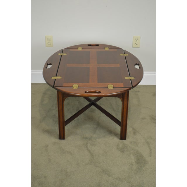 Brass Chippendale Style Mahogany Butlers Coffee Table For Sale - Image 7 of 13