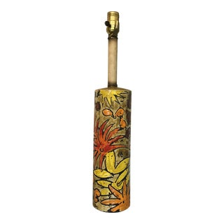 Vintage Floral Italian Pottery Lamp For Sale