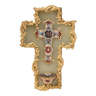 19th Century French Green Marble Cross and Holy Water with Cloisonné Technique