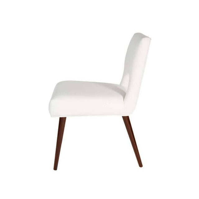 """Solid walnut turned dowel leg dining chairs with open upholstered back and fully upholstered tight seat. Seat height 18.5""""..."""