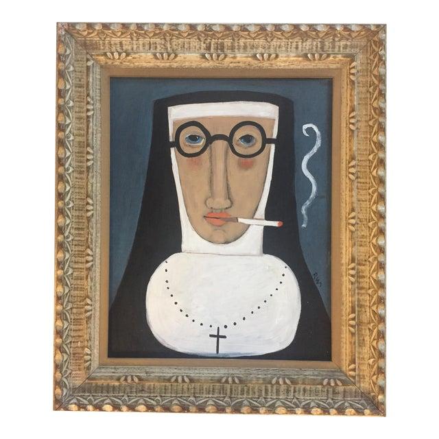 """Contemporary Folk Artist Rose Walton""""Smoking Nun"""" - Image 1 of 5"""
