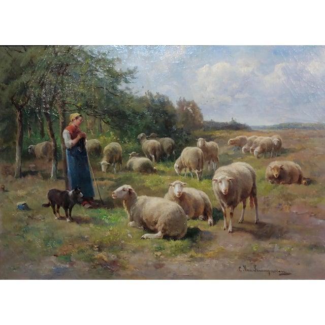 Cornelius Van Leemputten-Flock of Sheeps-Beautiful 19th C. Oil Painting For Sale - Image 4 of 10