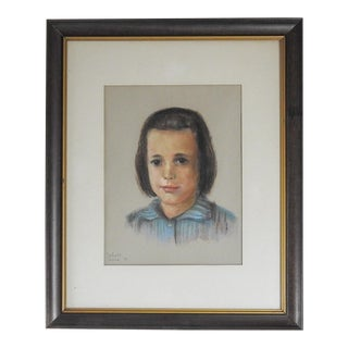 1950s Vintage Framed Portrait of Child For Sale